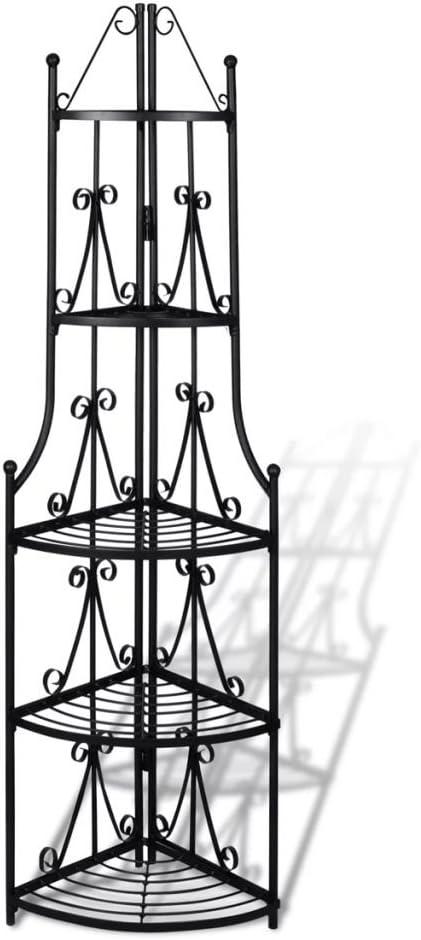 vidaXL /Étag/ère d/'angle pour plantes en noir