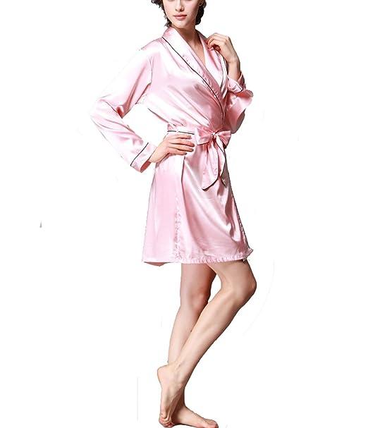 ... Casa De Estilo Japonés, Vestido Pijama Mujer Kimono Satén Lencería Kimono Del Cordón Satén Seda de Hielo Albornoz Camisón: Amazon.es: Ropa y accesorios