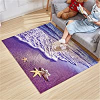 60cmx90cm/23.6x35.4 Super Soft Nonslip Coral Fleece 3D Graphic Floral Print Fairyland Ocean Dolphin Fishes Area Rugs Carpet Door Mat,Baby Kids Crawling Mats (Purple Beach)