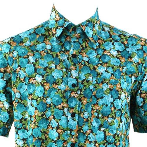 Loud Originals Regular Fit Hemd mit kurzen Ärmeln - grün rose Blumenmuster