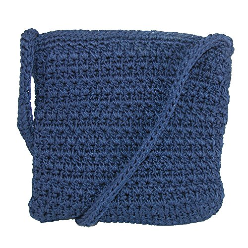 CTM Women's Crochet Crossbody Handbag, Navy