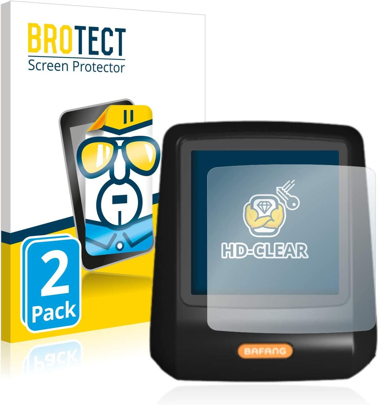 Dirt-Repellent Hard-Coated Crystal-Clear BROTECT 2X HD-Clear Screen Protector for Bafang DP C07