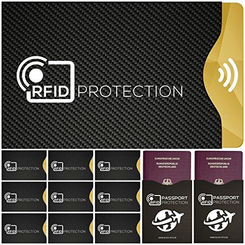 12x RFID Blocking Schutzhüllen für Kreditkarte, Personalausweis, EC-Karte, Reisepass, Bankkarte, Gesundheits-Ausweis etc. - 100% Schutz durch Abschirmung von kontaktlosen RFID & NFC Funk-Chips