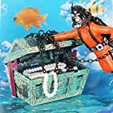 Alotm Ornament for Fish Tank Aquarium Resin Undersea Treasure Chest Diver Live-Action Aerating Decoration Artificial Landscape Decor Plant Accessories, Safe, Harmless To Fish (Orange)