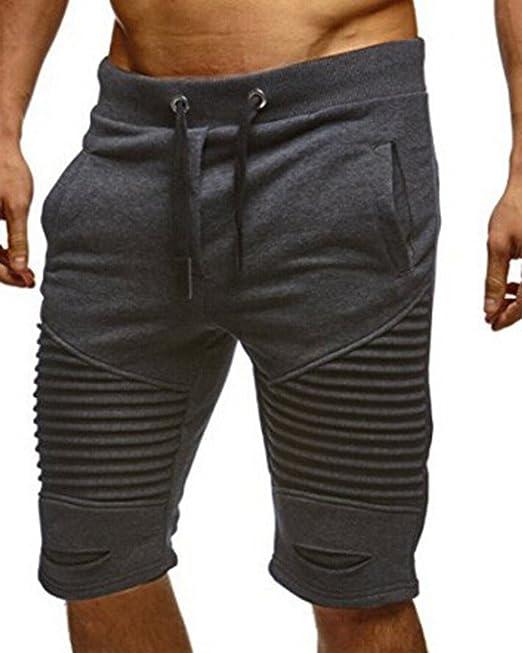 Tomwell Hombre Moda Agujeros Plisados Pantalones Cortos Bermuda Jogging Running Pantalón con Bolsillos Cómodo Cintura… 6YsALpYd