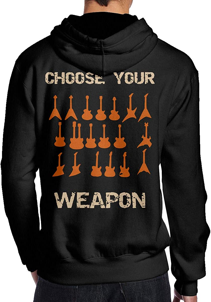 Back Print BMWEITIHBQ Mens Choose Your Weapon Electirc Guitar Pullover Hood Sport Outwear