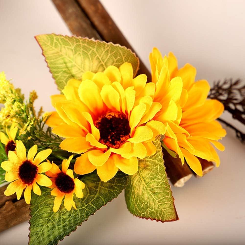 Forart Artificial Sunflower Summer Wreath with Wooden Frame Floral Door Wreath with Yellow Sunflower for Front Door Indoor Wall Decor