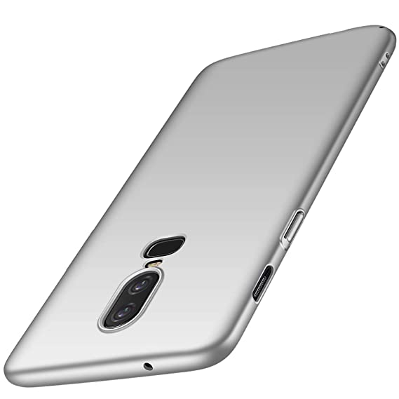 meet 3ff38 8ff51 kqimi oneplus 6 Case [Ultra-Thin] Premium Material Slim Full Protection  Cover for 1+6 2018 (Silver)