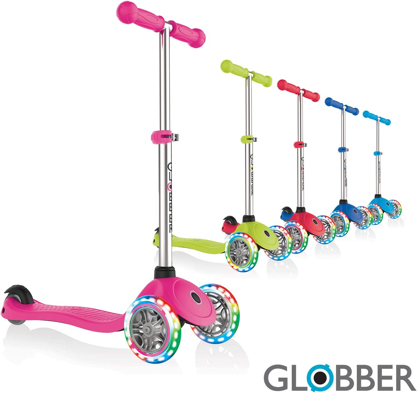 Globber V2 3-Wheel 3 Adjustable Height Scooter W Flashing Lights Zero Assembly Patented Steering Lock Great for Kids Toddlers Girls or Boys Reinforced Body Supports Up to 110lbs