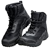 FREE SOLDIER Men's Tactical Boots 6'' inch Lightweight Combat Boots Durable Hiking Boots Military Desert Boots (Black, 9 US)