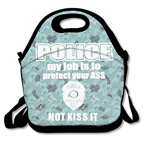 Mokjeiij Police My Job Is To Protect Your Ass Not Kiss Waterproof Thermal Insulated Neoprene Lunch Bag Lunchboxes Container