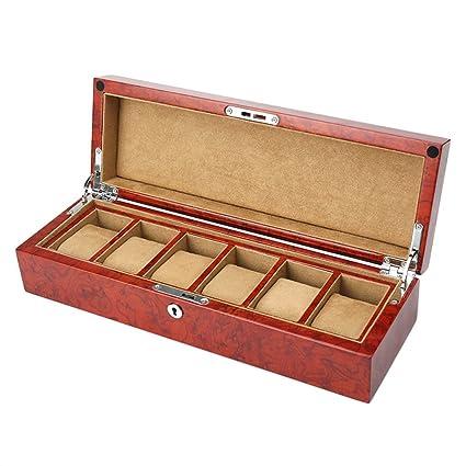 YAnFAn & Cajas para relojes Caja de Reloj de Madera 6 Rejillas Reloj de Joyería Caja