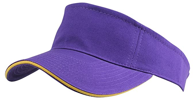 DALIX Blank Hat Washed Sandwich Cotton Visor In Purple and Gold at ... 5cfb161de82c