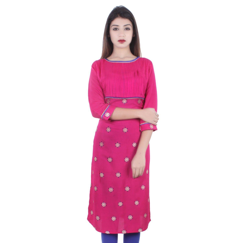 Chichi Indian Women Kurta Kurti 3/4 Sleeve Large Size Printed Straight Pink Top