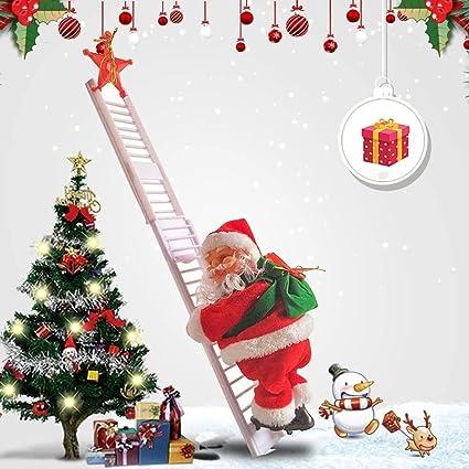 LIWEIXKY Papá Noel eléctrico Escalera de Escalada Arriba y ...