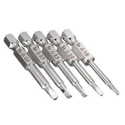 Gasea - 5 puntas de destornillador de cabeza triangular magnéticas, 50 mm, 1/4 Hex