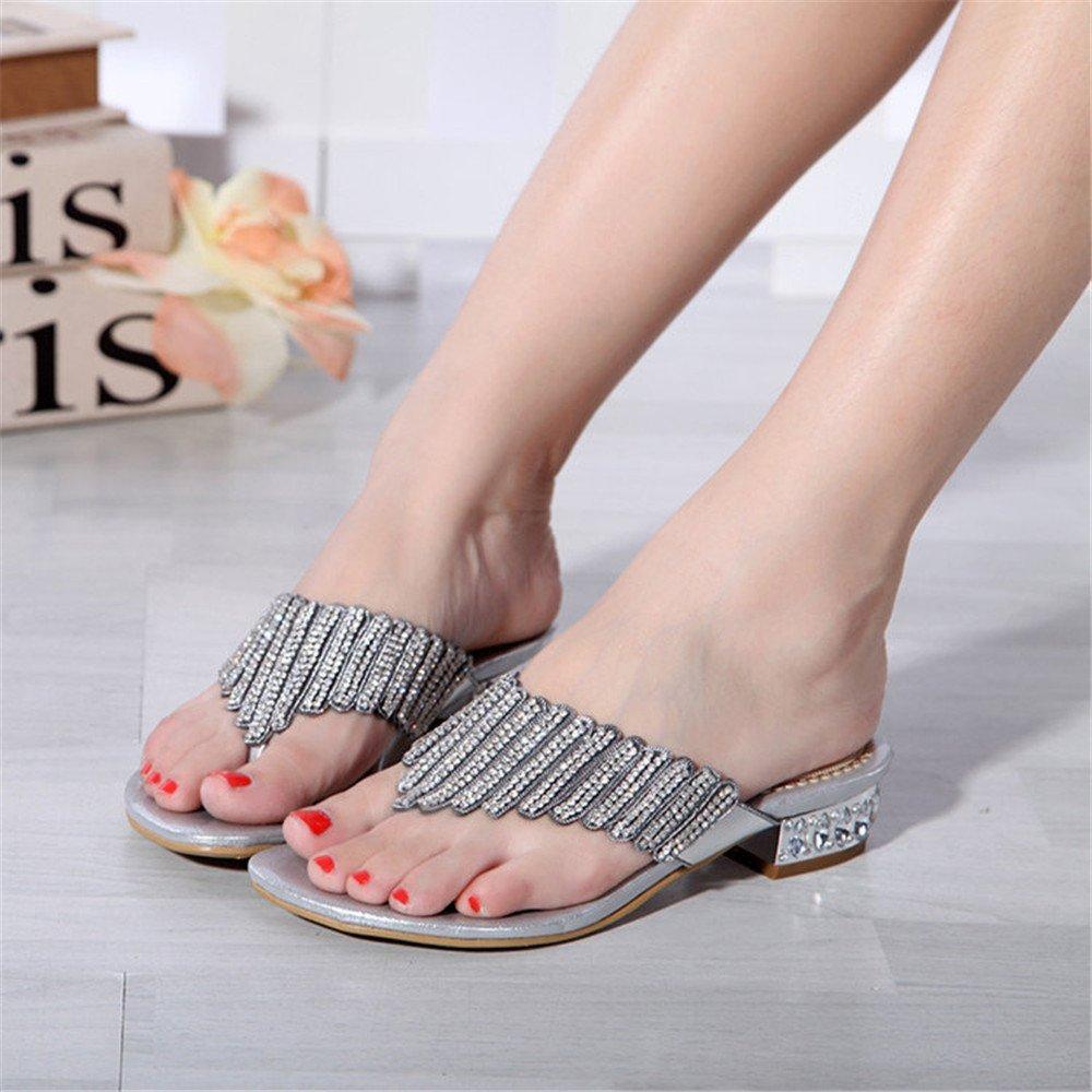 000b93522 Unicoratha Women s Low Block Heel Toe Post Diamante Flip Flops Wedding Prom  Party Sandals Silver 8 UK  Amazon.co.uk  Shoes   Bags