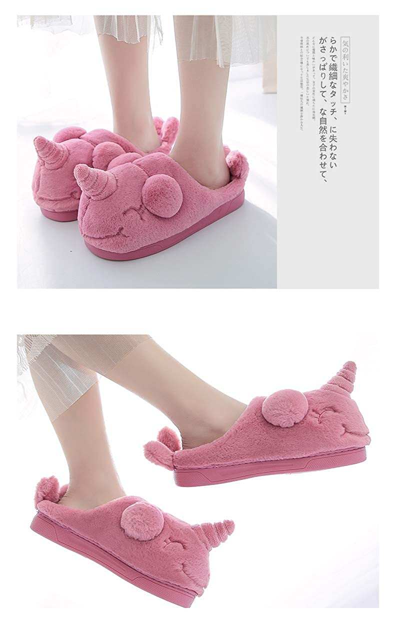 Womens Unicorn Soft Plush Non-slip Indoor Winter Warm Slippers