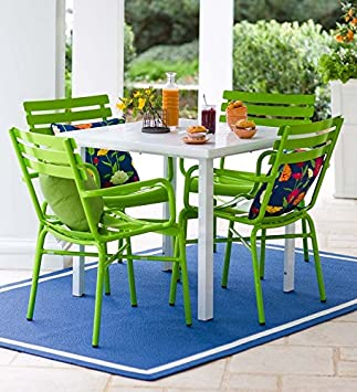 Bright Metal Patio Furniture Set, Table And 4 Green Chairs