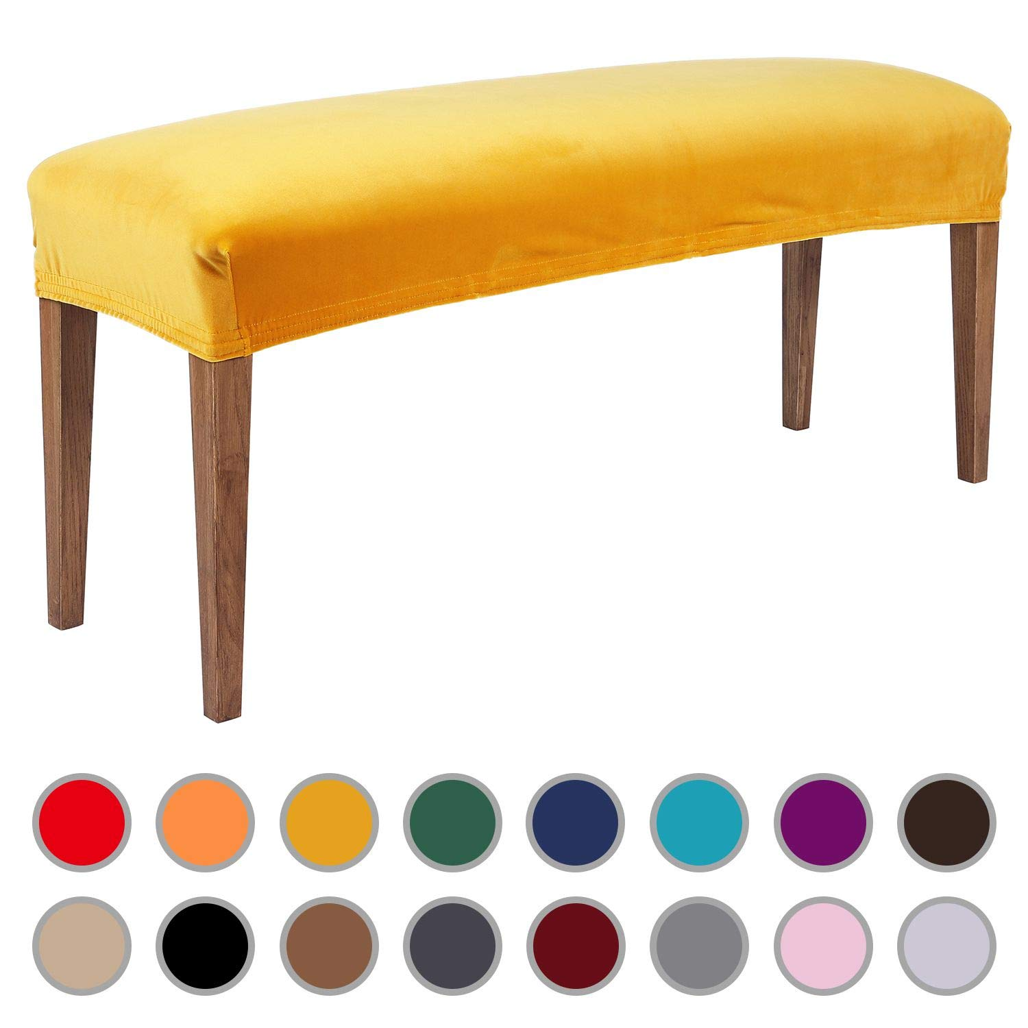 Colorxy Velvet Bench Covers for Dining Room - Stretch Spandex Upholstered Bench Slipcover Rectangle Removable Washable Bench Furniture Seat Protector for Living Room, Bedroom, Kitchen (Mustard Yellow)