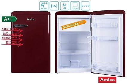 Amica Retro Kühlschrank Hellblau : Amica retro kühlschrank weinrot ks r a liter mit