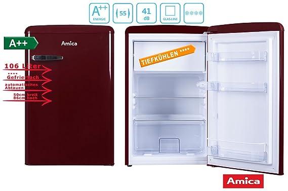 Retro Kühlschrank Amica Creme : Amica retro kühlschrank weinrot ks 15611 r a 106 liter mit