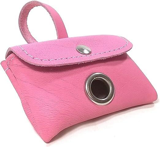 Porta-bolsas Caca Perro de Cuero, Elegante Dispensador para una Rollo de Bolsas de Excrementos, Calidad Hecho a Mano en España, Color Rosa, Para Llevar en la Correa, Collar, Cinturón o Bolsa: Amazon.es:
