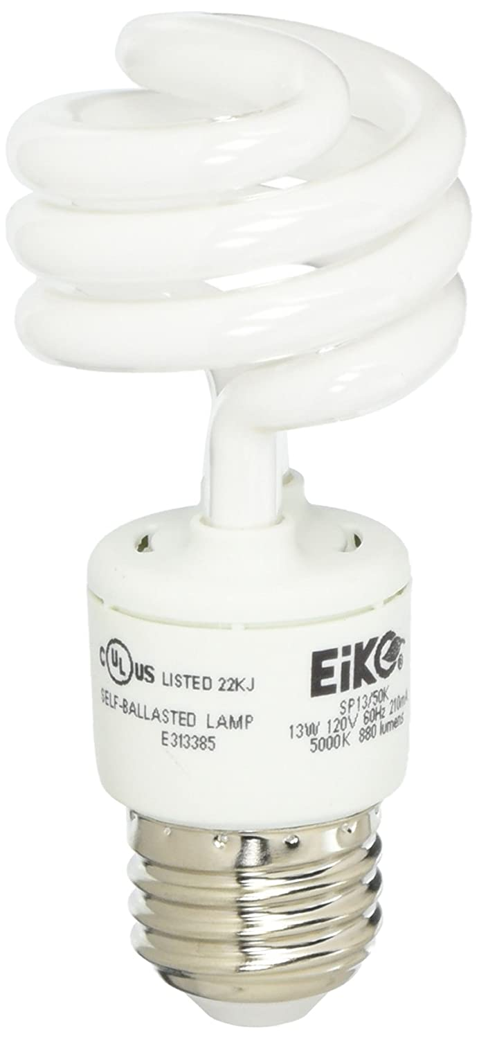 EiKO 05667 Model SP13 50K Compact Fluorescent Light Bulb 120 Voltage Rating 13 Watts 210 mA 69 Lumens per Watt Medium Screw E26 Base 4.13 105mm MOL 1.81 46mm MOD 1.6mg Mercury Content Amalgam HG Form