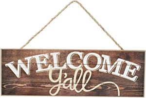 "GiftWrap Etc. Rustic Wooden Welcome Y'all Sign - 15"" x 5"", Vintage Brown Front Door Decor, Southern Wall Decoration, Wreath, Home, Kitchen, Farmhouse, Porch, Barn"