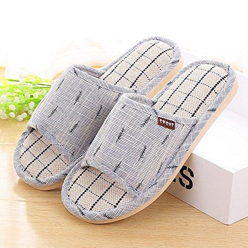 Btrada Women Fashion Slippers Platform Anti-Slip Indoor Shoes Open Toe Flax House Slippers Blue h9zBXGu1R