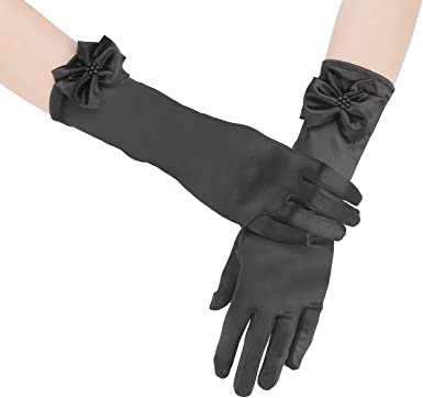 Purple 11.5 Inch Stretchy Satin Long Finger Bowknot Dress Glove for Girl,