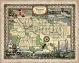 222-Tuscon Arizona vintage historic antique map poster print