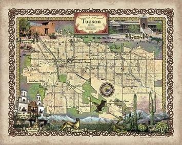 Amazon.com: Tuscon Arizona TUCSON MAP, tucson AZ, tucson poster ...