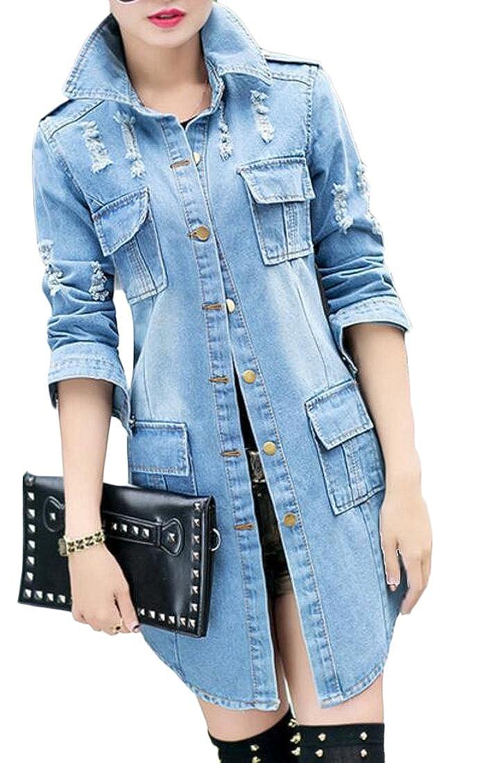 bluee Qiangjinjiu Womens Lapel Long Sleeve Slim Fit Pocket Denim Jacket Trench Coat