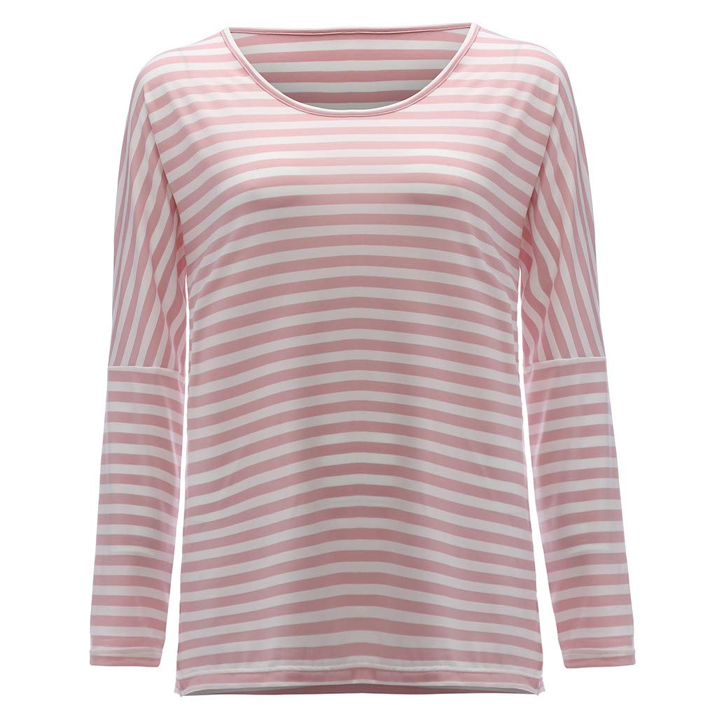 Women Shirts Plus Size,Womens Loose Stripe Long Sleeve Tee Shirt O-Neck Pullover Tops Blouses