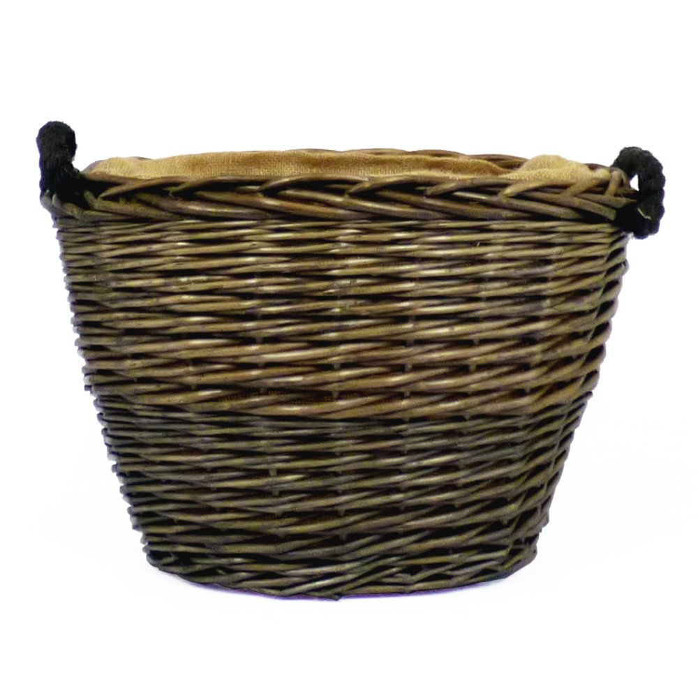 Antique Wash Finish Oval Log Storage Basket with Hessian Lining and Rope Handles - Gift ideas for Christmas, Birthday, Home Fine Food Store