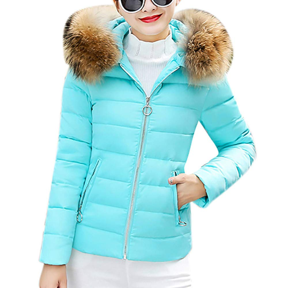 Funnygals - Ladies Down Jackets Quilted Padded Puffer Bubble Fur Collar Warm Thick Slim Fit Womens Jacket Outwear Coat Blue by Funnygals - Clothing