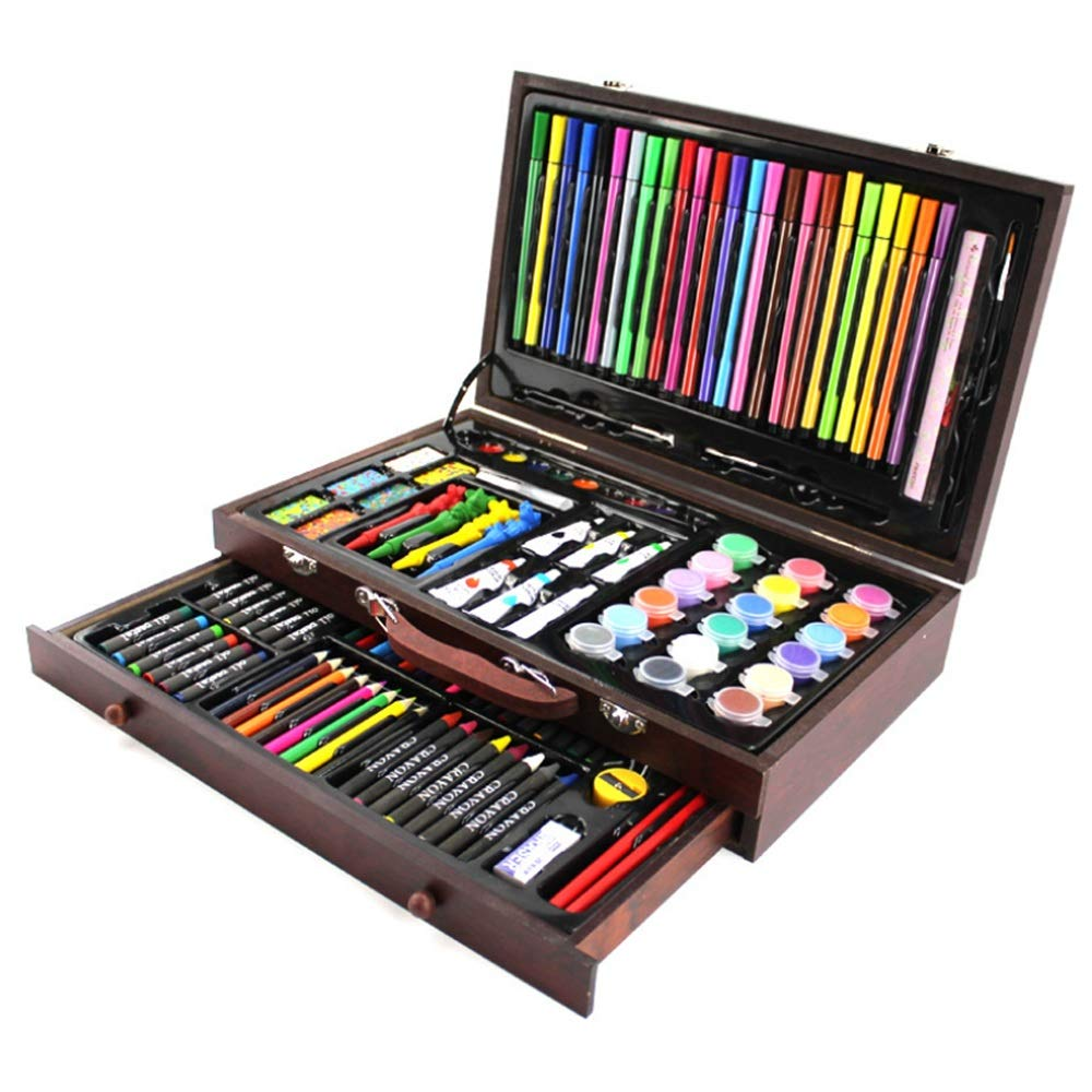 Watercolor Pencils Set Children's Large 130-piece Drawing Stencil Kit | Fun Travel Event Set, Organizer Case With More Shapes, Art Craft Girls And Boys, Creativity Educational Toys Age 3 To Teens | Go
