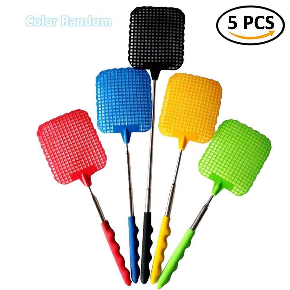 IYSHOUGONG 5 Pcs Plastic Swatter Telescopic Extendable Flapper Fly Prevent Pest Mosquito Tool,Color Random