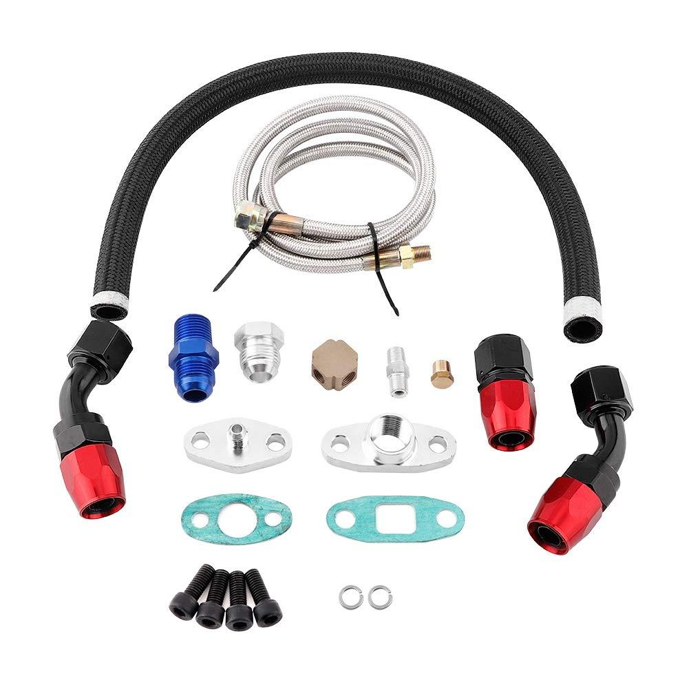 Aramox Turbo Oil Line Kit, Turbo Oil Feed Line Return Line AN10 Fitting Flange Kit T3 T4 GT35 T70 T66 Cooling Turbo