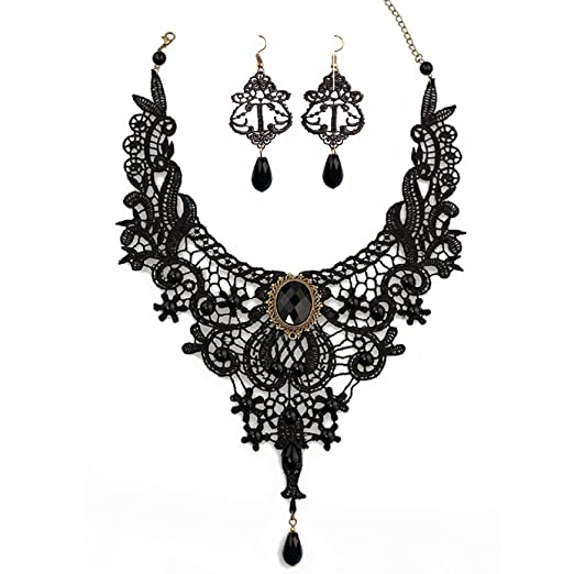 Victorian Costume Jewelry to Wear with Your Dress Black Lace Necklace Earrings SetJoyTong Lace Pendant Choker and Eardrop $8.99 AT vintagedancer.com