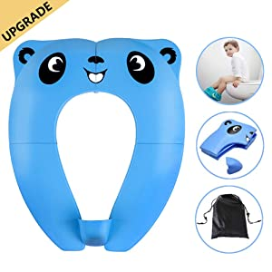 Folding Potty Training Seat TYRY.HU Toddler Portable Travel Toilet Seat Cover Foldable Reusable Potty Ring with Upgrade Splash Guard, 8 Non-Slip Pads for Kids Child Baby Boys Girls, Blue