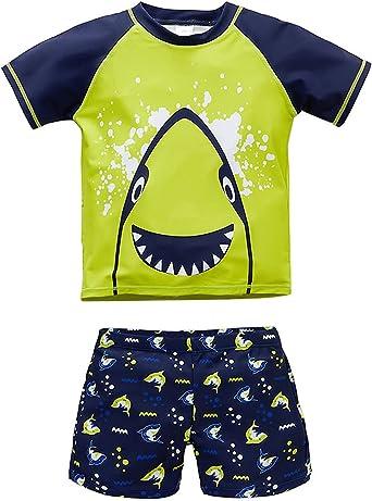 Toddler/Little Boys 2-Piece Rash Guard Swimsuit Set