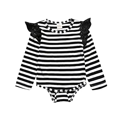 8c0141868f1 Kids Tales Newborn Baby Girls Striped Lace Long Sleeve Romper Jumpsuit  Bodysuit Outfits - Black -  Amazon.co.uk  Clothing