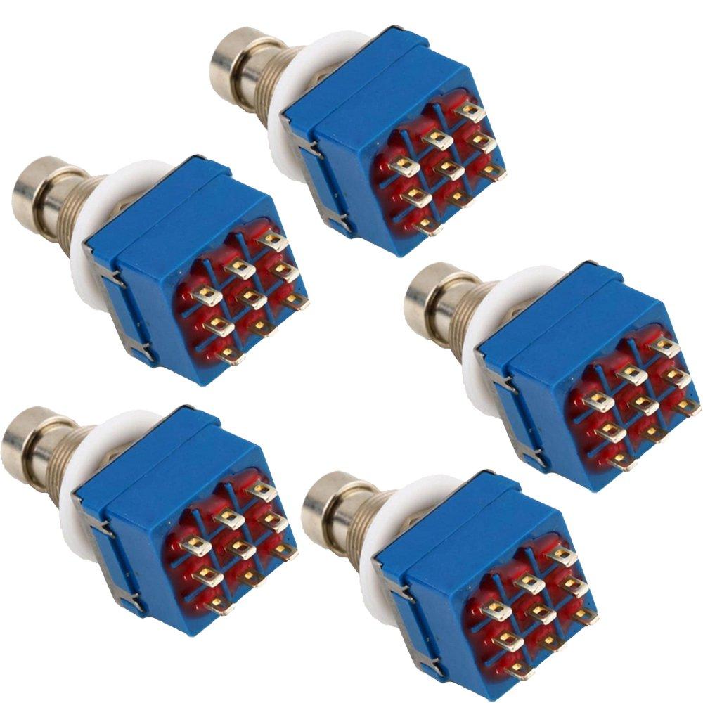 E Support™ 5 X 3PDT 9 Pins Box Stomp Gitarren-Effekt-Pedal Fußschalter True Bypass Metall Blau