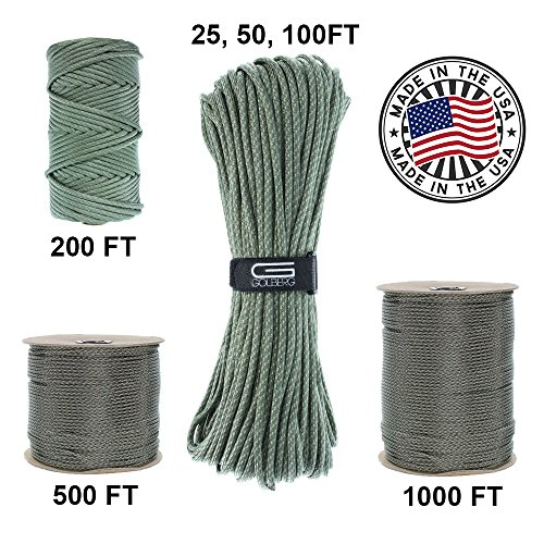 Golberg 750lb Paracord/Parachute Cord – US Military Grade – Authentic Mil-Spec Type IV 750 lb Tensile Strength Strong Paracord – Mil-C-5040-H – 100% Nylon – Made in USA