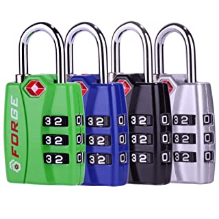 Forge TSA travel luggage Locks 4 Pack Open Alert Indicator,Zinc Alloy Body, Easy Read Dials, black, blue,green,silver