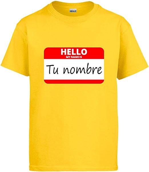 Diver Camisetas Camiseta Hello My Name Is tu Nombre Personalizable: Amazon.es: Ropa y accesorios