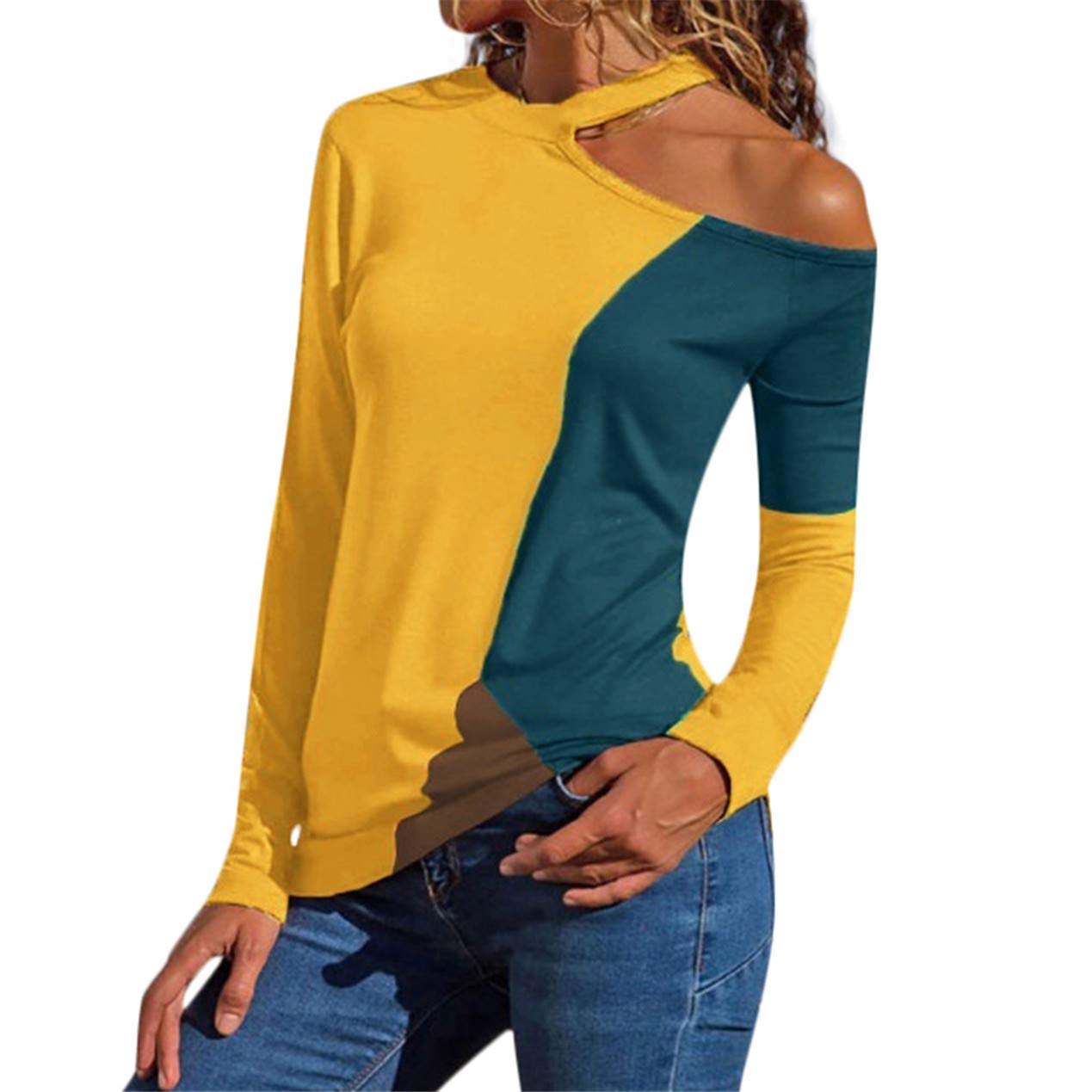 TIFENNY Plus Size Loose Sexy Shirt for Women Hanging Neck Off Shoulder Asymmetric Patchwork Color Block T-Shirts Tops