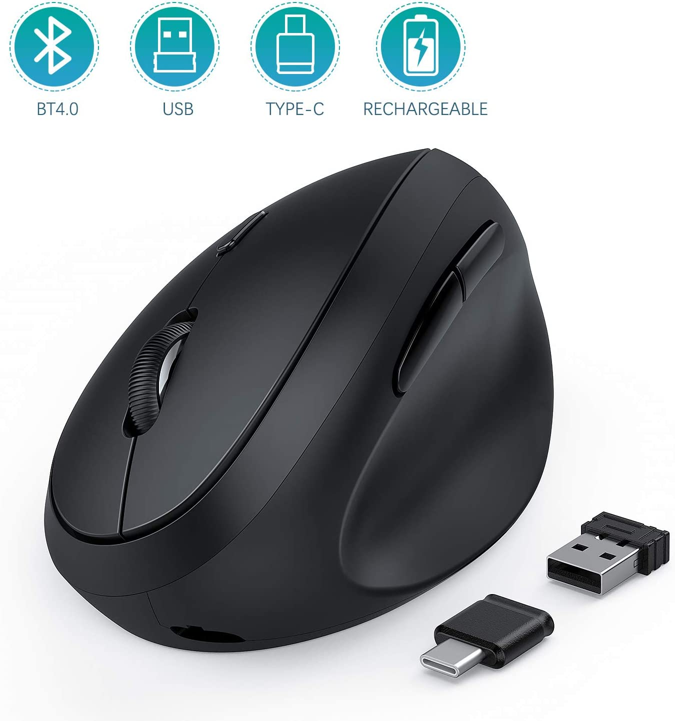 Vertical Wireless Mouse, Jelly Comb Ergonomic Mouse Reduces Wrist Strain, Easy Switch Between 3 Computers with Bluetooth, USB or Type C Connection, Rechargeable - MV09D